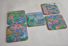 Coasters made from Disney maps