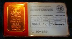 ø 1 oz Gold Bar Gold Bullion Bars, Gold 1, Crypto Currencies, Gold Coins, 1 Oz, Precious Metals, Metallica, Luxury Cars, Silver
