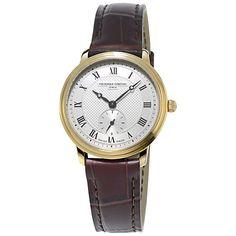 Buy Frédérique Constant FC-235M1S5 Women's Slimline Leather Strap Watch, Brown/Gold Online at johnlewis.com
