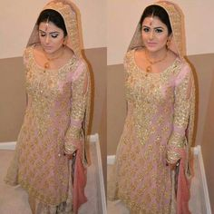 Baby pink and gold lengha