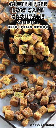 Low Carb Gluten Free Garlic Croutons - My PCOS Kitchen - These delicious garlic croutons are extremely crispy, buttery and full of flavour!  Add them to any kind of salad for extra crisp! #lowcarb #glutenfree #keto #croutons #recipe #paleo #lchf via @mypcoskitchen
