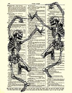 Dancing Skeleton Couple Print Gothic Decor by reimaginationprints, $10.00