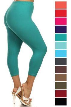 094706a25ddc91 Pluskins Solid Color Capris - various colors Buskins Leggings  www.beverlysleggingsforall.com Spandex Fabric