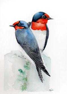 ARTFINDER: swallows -Original watercolors painting by Karolina Kijak - Original watercolors of swallows Paper 300g size 30x19cm  Follow me on facebook: https://www.facebook.com/kijakwatercolors