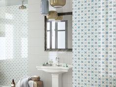 Rivestimento in Bicottura Supercolorato e Decorato LAGOON DECO FLOWER, formato 20x50. Mosaici abbinabili.