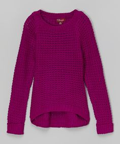 Bold Violet Hi-Low Sweater - Girls | zulily