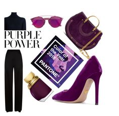 """Hue of the year"" by veureka on Polyvore featuring Prada, Christian Dior, Chloé, Temperley London, STELLA McCARTNEY, purplepower, internationalwomensday and pressforprogress"