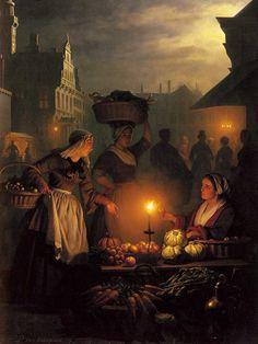 Petrus van Schendel - Nachtmarkt - Öl auf Holz - 69x52 cm - Privatbesitz Date 19th century