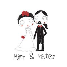 Custom wedding illustration  custom portrait por KoCcos en Etsy