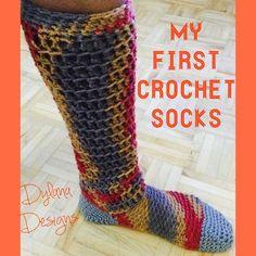 Easy Crochet Knee High Slipper Socks Pattern PDF by DylanaDesigns