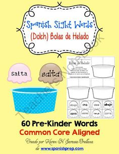 Spanish Pre-Kinder High Frequency Words (Dolch) Bolas de Helado from KarenSaravia on TeachersNotebook.com -  (15 pages)  - Spanish Pre-Kinder High Frequency Words (Dolch) Bolas de Helado
