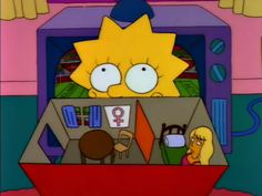 """How to play with barbies: """"Dad, I made a modest studio apartment for my Malibu Stacy doll. This is the kitchen, this is where she prints her weekly feminist newsletter . Oh Lisa, I do adore you still! The Simpsons, Playlists, Krusty, Smash The Patriarchy, Riot Grrrl, Batman, Girl Thinking, Homer Simpson, Adore You"""