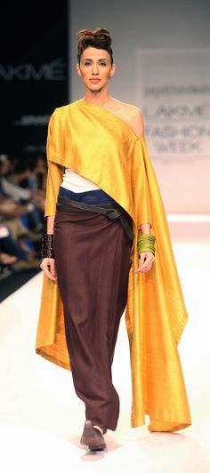 payalkhandwala - AW/2013 - Silk Slit Poncho Long and Silk Lungi Skirt