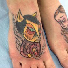 Coloured Cat With Heart Tattoo On Feet By Nicoz Balboa ~ Foot Tattoo Ideas Anchor Tattoos, 3d Tattoos, Girly Tattoos, Skull Tattoos, Foot Tattoos, Cute Tattoos, Tribal Tattoos, Tattoo Designs, Tattoo Ideas
