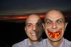 Io e il mio alter ego consumatore - Selfie sul tramonto a San Lucido (CS).