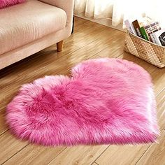 Heart Shaped Soft Faux Sheepskin Fur Area Rugs For Home Sofa Floor Mat Plush 3ft X 2 2ft Pink Review Rugs On Carpet Plush Carpet Cushions On Sofa