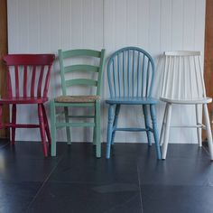 Mismatched chairs round the dining table is a trend seen everywhere at the moment in stylish homes.Available in any Farrow and Ball colours.The mismatched dining chair set comprises of the following (from left to right): Farmhouse Chair, Italian Bistro Chair, Hoopback Chair 1960's Style Chair. Please select the combination you would like from the drop down menu. If you would like a different combination, please contact us via the 'Ask the Seller' tab. Creating furniture in the colour of…