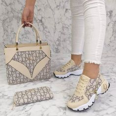 Complete shoes and bag set available from size 36 to 40 we do shipping worldwide. Dior Sneakers, Cute Sneakers, Sneakers Fashion, Fashion Shoes, Fashion Handbags, Purses And Handbags, Womens Designer Purses, Gucci Boots, Chunky Heel Shoes