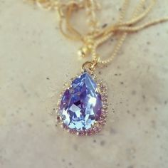 Light Blue and Clear Crystal Teardrop Necklace