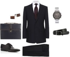 Interview Attire Layout, This is what you should wear to a interview when you get one. It should be a nice shirt and jacket with a tie if you chose. Depending on the job a tie may seem like to much it is a judgment call. You also need nice dress pants and nice dress shoes. The watch and brief case are optional but really make you look professional. Don't forget the belt.This pin relates to me because I recently went on an interview wearing most of what is displayed in this picture and was…