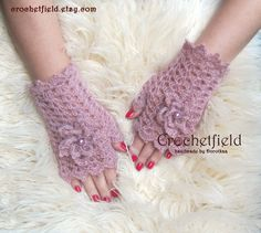 Powder Pink Crochet Mittens with Flowers, Fingerless Gloves, Lace Hand warmers, Wrist Cuffs ,Gift for her, Women's Fashion Accessory - pinned by pin4etsy.com