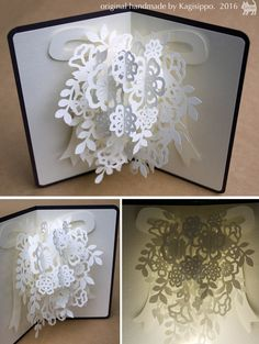 pop-up card [wedding bouquet] original handmade by Kagisippo. [youtube] https://youtu.be/W23ELGonjFQ