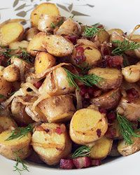Pan-Roasted Fingerling Potatoes with Pancetta // More Great Ideas for #Thanksgiving: http://www.foodandwine.com/ultimate-thanksgiving