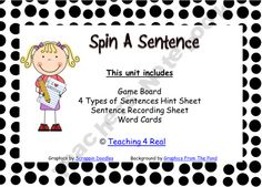 """Four Types of Sentence Game """"Spin"""" Language Lessons, Speech And Language, Language Arts, 4 Types Of Sentences, Sentence Types, 2nd Grade Activities, Doodle Background, Singular And Plural, Subject And Predicate"""