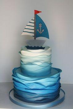 Pastel navy. awesome nautical cake!