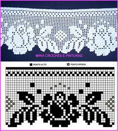 Bico de crochê Home Decor home decor paintings Filet Crochet, Crochet Lace Edging, Crochet Borders, Crochet Diagram, Irish Crochet, Crochet Doilies, Crochet Flowers, Crochet Stitches, Crochet Curtain Pattern