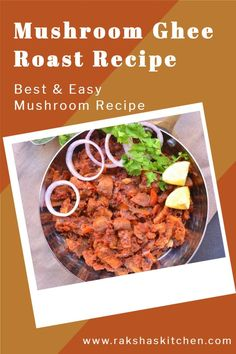 Mushroom ghee roast recipe is a delicious recipe in which button mushrooms are sliced and cooked in a red fiery, tangy, spicy sauce or gravy and lots of ghee (clarified butter). Ghee roast vegetables can also be made. It is an ideal recipe to have in the cold weather. It can be served as an appetizer or can be served with rice or neer dosa. Indian vegetarian mushroom recipes are also easy to make. This best recipe comes from Kundapur region near Mangalore. Try it out now! Roast Recipes, Spicy Recipes, Crockpot Recipes, Keto Recipes, Vegetarian Mushroom Recipes, Easy Mushroom Recipes, Good Food, Yummy Food, Best Instant Pot Recipe