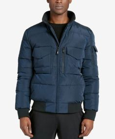 Dkny Men's Quilted Bomber Jacket - Black XL