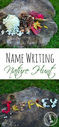 Name Writing Nature Hunt: Make your time outdoors special and craft your names with natural materials! An idea for an outing with kids or your partner if you both feel like having some innocent romantic fun. - Name Writing Nature Hunt - Adventure in a Box