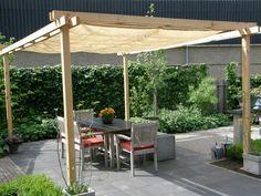 backyard pergola with concrete base | Share