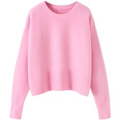 Blackfive Macaron Tone Dropped Shoulder Cropped Pullover Jumper (70 BAM) ❤ liked on Polyvore featuring tops, sweaters, blackfive, shirts, loose pullover sweater, pullover sweater, pink sweater, loose sweater and long pink sweater