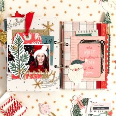Enza here to share a mini album featuring the gorgeous Merry Days collection. My goal for this mini was to document our traditions and most memorable moments from last December; Christmas Mini Albums, Christmas Journal, Christmas Travel, Christmas Minis, Christmas Books, Christmas Decor, Christmas Scrapbook Layouts, Mini Scrapbook Albums, Scrapbook Page Layouts