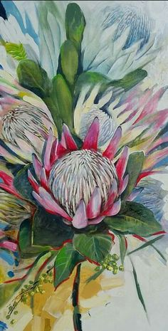 Botanical Art, Botanical Illustration, Illustration Art, Watercolor Flowers, Watercolor Paintings, Flower Paintings, Watercolour, Protea Art, Guache