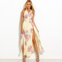 Floral Print 2016 New Style Summer Dress Women Backless Cross Sexy Long Dresses Boho Evening Party Maxi Vestidos *** Learn more by visiting the image link.
