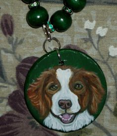 Brittany Spaniel Dog Necklace Painted by daniellesoriginals, $24.00
