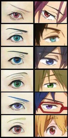 Rin, Sosuke, Haruka, Makoto, Rei and Nagisa - eyes