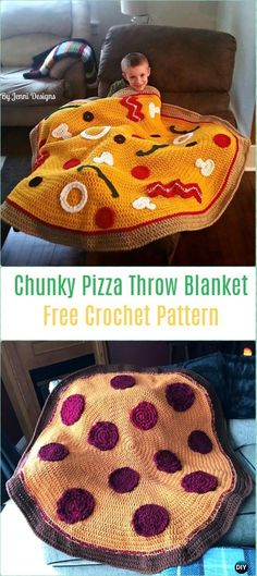 Crochet Chunky Pizza Throw Blanket Free Pattern-Crochet Circle Blanket Free Patterns