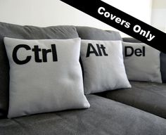 Ctrl  Alt  Del  Three Pillow Set COVERS ONLY by FourEyesHandmade, $52.00