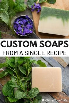 Create custom soaps using just a single! This recipe is perfect for customizing soaps for yourself or to give as gifts! So many options to make your soap unique! Homemade Lip Balm, Homemade Soap Recipes, Glycerin Soap, Castile Soap, Goat Milk Soap, Lotion Bars, Cold Process Soap, Home Made Soap, Soap Making