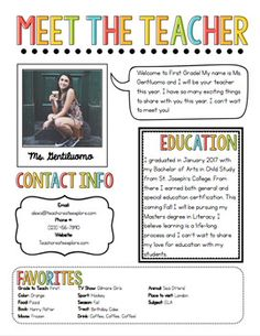 Meet The Teacher Newsletter This Is Great To Introduce Yourself