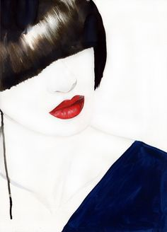 bob and red lips painting