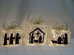 Nativity on Glass Brick