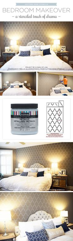 Cutting Edge Stencils Shares A DIY Stenciled Accent Wall In A Master Bedroom  Using The Marrakech