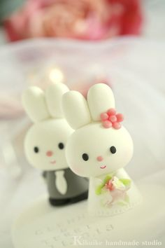 Custom Wedding Cake Topper Handmade lovely cute rabbit by kikuike, $150.00