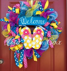 """Flip flop wreath """"Welcome"""" pink, teal yellow polka dot"""