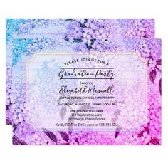Hydrangeas French Ephemera Graduation Party Card - floral style flower flowers stylish diy personalize